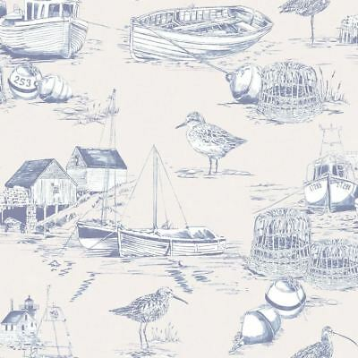 Curlew Bay Blue Wallpaper Birds Boats Nautical White Blue Textured Arthouse