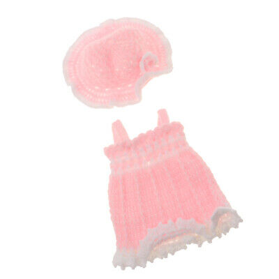 Knitted Dress Flower Hat Suit for 10-11inch Reborn Baby Girl Dolls Clothes