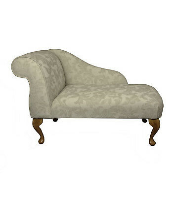 "41"" Small Chaise Longue Lounge Sofa Bench Seat Chair Cream Fabric Queen Anne UK"