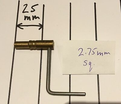 Brass & Steel Vienna Regulator Winding Key Fits 2.75mm Square
