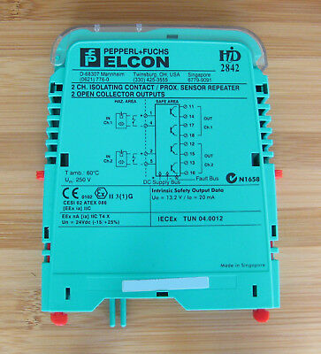 Pepperl+Fuchs ELCON HiD 2842 HiD2842 121454 2 Ch. Contact Prox Sensor Repeater