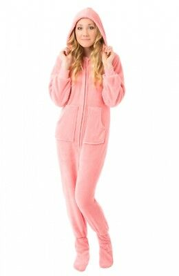 08c7a681740e PINK PLUSH HOODED Adult Footed Pajamas Footie Drop Seat Mens Womens ...
