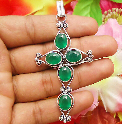 Beautiful Cross Pendant Faceted Green Onyx Gemstone Silver Plated Free Ship