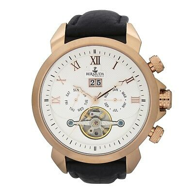 Bermuda Gents Automatic Watch with Open Heart and Leather Strap