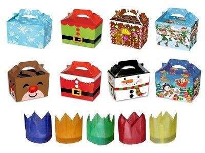 Childrens Kids Christmas Meal Food Boxes With FREE Xmas Party Cracker Hats