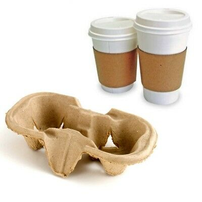2 Cup Cardboard Holder Tray Hot Cold Drink Carrier Biodegradable Take Away Trays