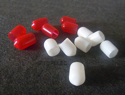24-100pcs White/Red RCA Jack Socket Protector Dust Proof Cover Cap