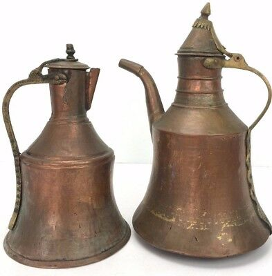 "2 Vintage Copper Kettles Antique Rustic,12 & 15"" tall, Authentic Made In Turkey."
