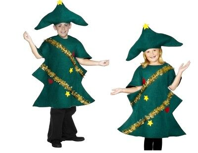 Childs Kids Christmas Tree Xmas Fancy Dress Outfit Costume Age 4 - 12 Years