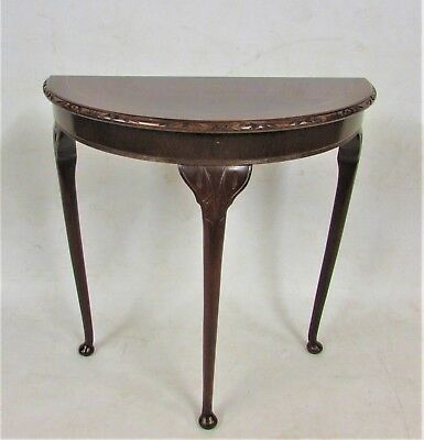 Vintage Queen Anne Antique Style Mahogany Demi Lune Console Hall Table