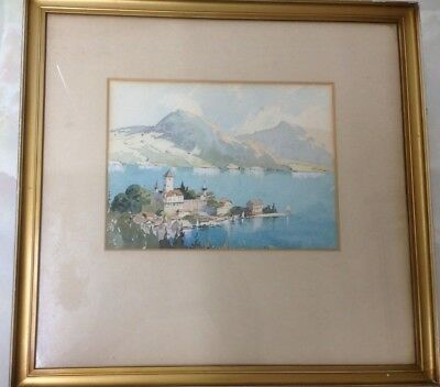 Framed Original Watercolour Painting. Depicts a Coastal Scene.