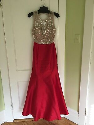 5ba7b9b1eab XSCAPE Red Beaded Open Back Trumpet Mermaid Formal Occasion Dress Gown 8
