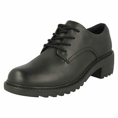 Girls Clarks Chunky Heeled Lace Up Leather School Shoes - 'Frankie Grove'