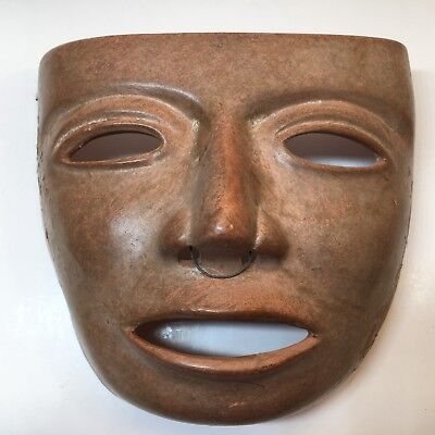 Vintage Brown Mexican Folk Art Terra Cotta Clay Pottery Mask Wall Hanging