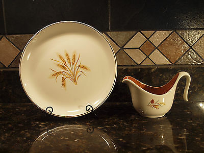 "Vintage W S George- Wheat Center-  9"" Plate-Pattern Geo139-  and Gravy Boat"