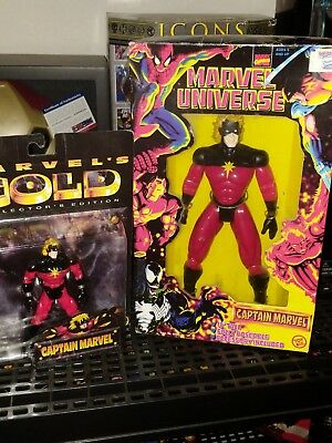 Captain Marvel Action Figure Lot Of 2 Marvels Gold And Ten Inch Deluxe Mib New