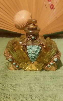 1920s Czech Jeweled Perfume Bottle