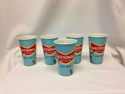 Lot Of 5 Vintage National Bohemian Light Beer 14 Oz Wax Paper Cups