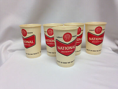 Lot Of 5 Vintage 16 Oz National Bohemian Light Beer Wax Paper Cups From 1964