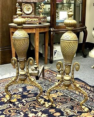 RARE Estate Antique 19th C French Gilt Bronze Andirons
