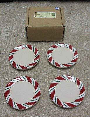 Longaberger Pottery Coasters Peppermint Twist ~ Brand New in Box Set of 4