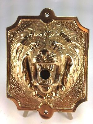 Vintage English Cast Brass High Relief Lion Head Door Bell Cover