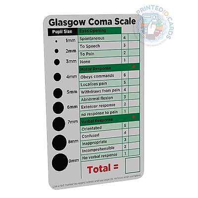 GCS / Glasgow Coma Scale (Paramedic, Nurse, Student) pocket reference card