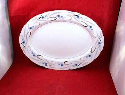 """Replacement Vtg 1980s Crescent Fine China 12"""" Oval Serving Platter Sea Breeze"""