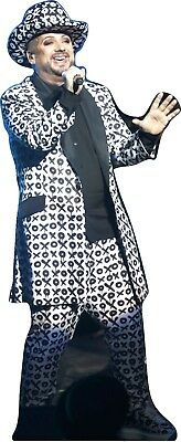 """BOY GEORGE - BLACK&WHITE OUTFIT- LIFE SIZE 70"""" Tall CARDBOARD CUTOUT Standee"""