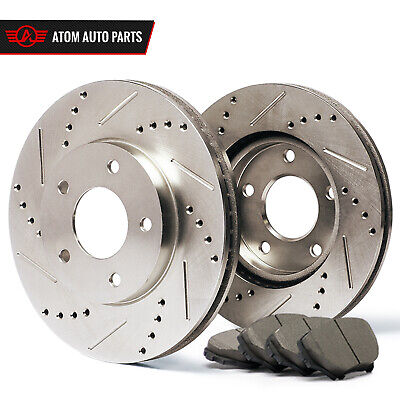 2006 2007 2008 Mercedes Benz B200 Slotted Drilled Rotor & Ceramic Pads Front