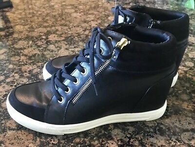 f3e3ca3fce9c ALDO Kaia High-Top Black Wedge Lace Up Sneakers Womens Shoes  85 Size US11
