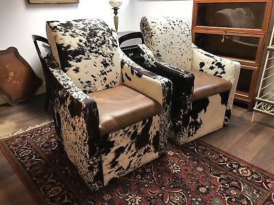Pair Of Armchairs. Cowhide & Leather.
