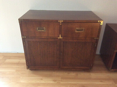 Henredon Vintage Campaign Style Walnut 2 Drawer 2 Door Cabinet Chest
