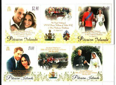 Pitcairn Islands 2011 & 2018 Royal Weddings 2 Strips -Xf Mnh