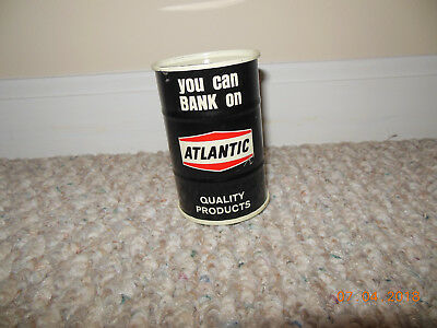 VINTAGE Atlantic Richfield Co Motor Oil Drum Gas Can Tin Coin Bank Advertising !