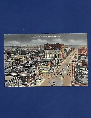 Vintage Postcard Canal Street By Night New Orleans Louisiana La