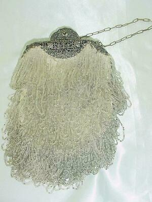 Gorgeous Victorian Antique Looped Glass Beaded Ornate Silver Plate Framed Purse