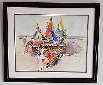 """Suzanne Obrand, Holocaust Survivor, Framed Watercolor Painting """"Toy Boats #1"""""""