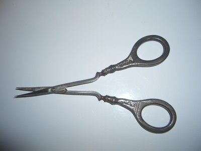 Antique Small Sterling Silver Pair Sewing Scissors  1858 Birm.