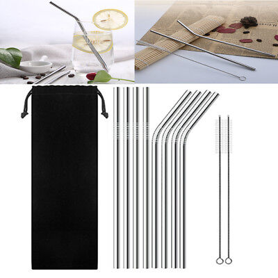 20oz 8Pcs Stainless Steel Drinking Straw Reusable With 2 Cleaner Brush Kit Tool