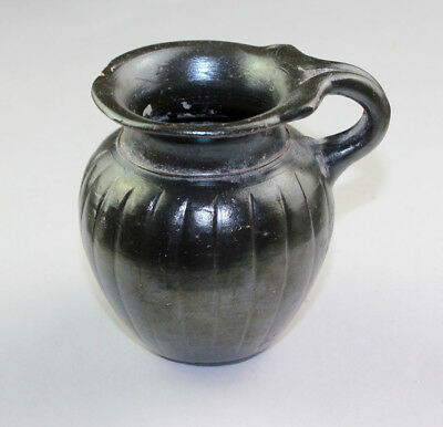 *sc*superb Apulian Pottery Jug With Black Glaze And Silverish Patina!