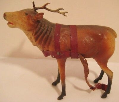 Old German Composition Christmas Reindeer w/ lead antlers for Sleigh - as is