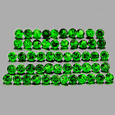 1.0mm ROUND 185 PIECES CHROME GREEN DIOPSIDE NATURAL GEMSTONE RUSSIAN [FLAWLESS]