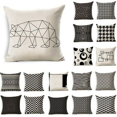 Nordic Style Beige Black Geometric Pattern Pillow Cushion Home Decor Cover