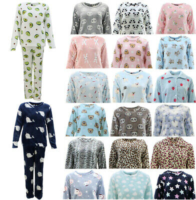 Women's Supersoft Plush Fleece Pyjama Pajama Set Top Pants Winter Sleepwear