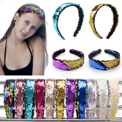 Women's Wide Reversible Sequin Headband Head Band Hairband Hair Hoop Accessories