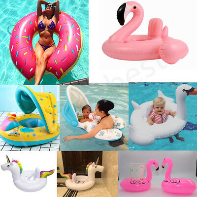 Inflatable Giant Flamingo Swan Unicorn Pool Float Ring Raft Swimming Water Fun