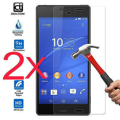 2X Real 9H Tempered Glass Screen Film Protector For Sony Xperia Z3 / Z5 /Compact