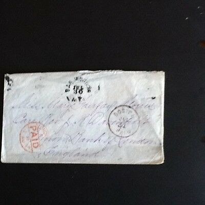 Usa Cover 1874 Bar Harbour Maine  Postmark To England Paid Red Boston Paid