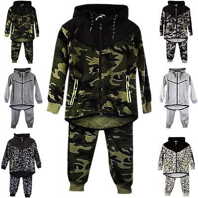 Boys Kids Tracksuit Set Camouflage Hoodie Top Bottoms Jogging Joggers Gym New